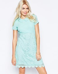 Traffic People Carry On Crochet Perfect Penny Dress With Collar Blue