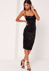 Missguided Cowl Neck Velvet Midi Dress Black