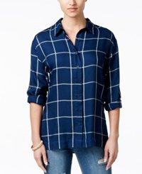 Stoosh Juniors' Plaid Button Front High Low Shirt Navy Light Blue