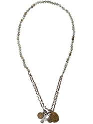 M. Cohen Beaded Charm Necklace Metallic