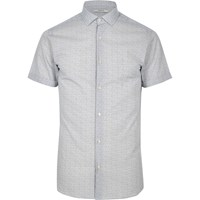 Jack And Jones River Island Mens White Patterned Premium Shirt