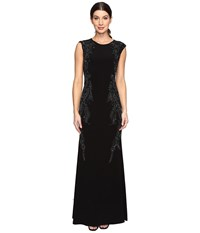 Adrianna Papell Cap Sleeve Jersey Beaded Gown Black Women's Dress