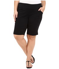 Jag Jeans Plus Size Ainsley Classic Fit Bermuda In Black Bay Twill Black Women's Shorts