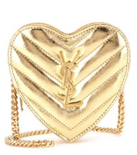 Saint Laurent Mini Love Leather Crossbody Bag Gold