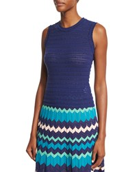 M Missoni Sleeveless Rivet Stitch Top Marine
