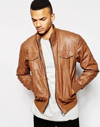 Barney's Barneys Faux Leather Bomber Jacket Tan