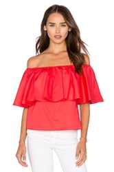 Nicholas Off Shoulder Ruffle Top Red