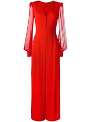 Alexander Mcqueen Buttoned V Neck Jumpsuit Red