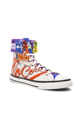 Moschino Mocola Print Canvas High Tops In Purple Yellow Neon