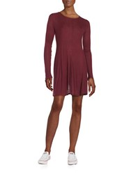 Design Lab Lord And Taylor Bayday Ribbed Long Sleeve A Line Dress Burgundy