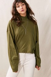 Urban Renewal Vintage Oversized Mock Neck Long Sleeved Shirt Olive