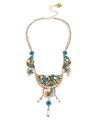 Betsey Johnson Weave And Sew Woven Mixed Multi Colored Bead And Flower Statement Necklace