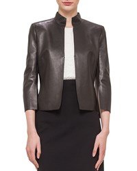 Akris Abstract Applique Back Leather Jacket Black