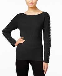 Inc International Concepts Lace Up Sweater Only At Macy's Deep Black