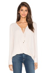 Wayf Long Sleeve Wrap Blouse Beige