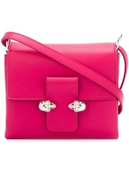 Alexander Mcqueen 'Twin Skull' Satchel Pink And Purple