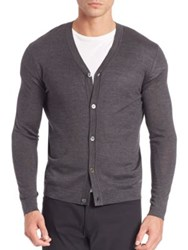Theory Silk And Cashmere Button Front Cardigan Charcoal
