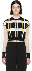 Marni Black And Yellow Striped Tulle Sweatshirt