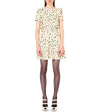 Alexander Mcqueen Obsession Print Box Pleat Crepe Dress Ivory Mix