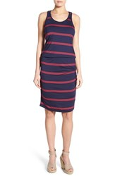 Petite Women's Halogen Blouson Tank Dress Navy Red Triple Stripe