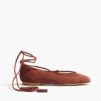 Madewell The Inga Lace Up Flat In Suede Canterbury Red