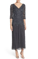 Women's Pisarro Nights Beaded Mesh Drop Waist Dress Slate