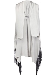 Lost And Found Fringed Hooded Vest Grey