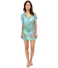 Lauren Ralph Lauren Maharaja Paisley Poolside Tunic Cover Up Turquoise Women's Swimwear Blue