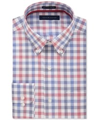 Tommy Hilfiger Men's Classic Fit Non Iron Navy Multi Check Dress Shirt