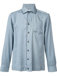 Umit Benan Contrast Piping Shirt Blue