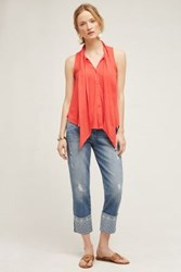 Anthropologie Level 99 Morgan Jeans Sea With Embroidery 24 Pants
