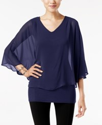 Joseph A V Neck Cape Top Evening Blue