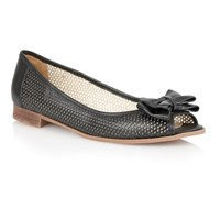 Lotus Willana Peep Toe Flat Shoes Black
