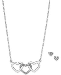 Charter Club Silver Tone Triple Heart Pendant Necklace And Matching Pave Stud Earrings Set Only At Macy's