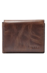 Fossil 'Derrick' Leather Execufold Wallet Dark Brown