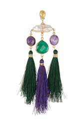Gas Bijoux 24Kt Gold Plated Tassel Chandelier Earring Green