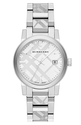 Burberry Check Stamped Bracelet Watch 34Mm Silver