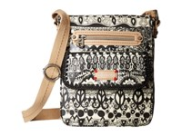 Sakroots Artist Circle Small Flap Messenger Black White One World Cross Body Handbags Beige