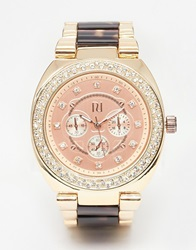 River Island Watch With Tortoise Shell Links Rosegold