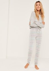 Missguided Grey Xmas And Chill Christmas Leggings