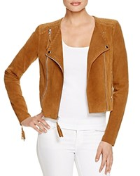 Paige Tiana Leather Whipstitch Suede Jacket Saddle Brown