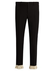 Gucci Ruffle Trimmed Silk And Wool Blend Cady Trousers Black