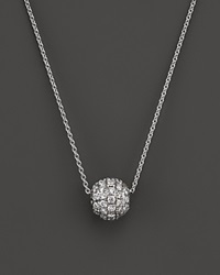 Bloomingdale's Diamond Ball Pendant Necklace In 18K White Gold .30 Ct. T.W.
