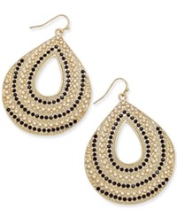Thalia Sodi Gold Tone Imitation Pearl And Black Teardrop Earrings Only At Macy's Blk Wht