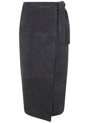 Mint Velvet Granite Suede Wrap Midi Skirt Grey