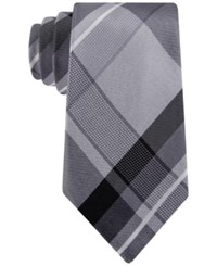 Geoffrey Beene Men's Far And Wide Classic Plaid Tie Gray