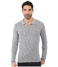 7 For All Mankind Long Sleeve Polo Sweater Heather Navy Men's Sweater