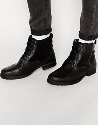 New Look Military Boot In Black Leather