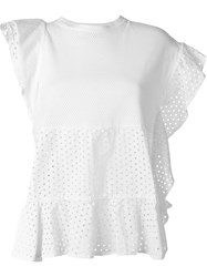 Nude Perforated Ruffle Top White