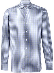 Isaia Checked Shirt Blue